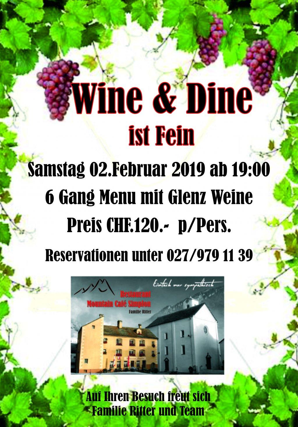 Wine & Dine ist Fein / Mountain Cafe Simplon Dorf / 02. Februar 2019 @ Mountain Cafe Simplon | Zofingen | Aargau | Schweiz